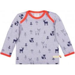 loud + proud - Bio Baby Langarmshirt mit Waldtieren-Druck, Woll-Anteil