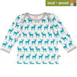 loud + proud - Bio Kinder Langarmshirt mit Elch-Druck, blau