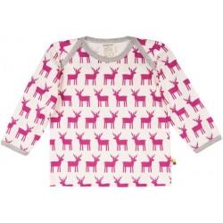 loud + proud - Bio Kinder Langarmshirt mit Elch-Druck, orchidee