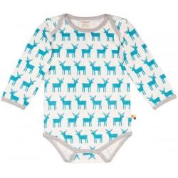 loud + proud - Bio Baby Body langarm mit Elch-Druck, petrol