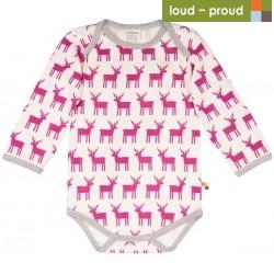 loud + proud - Bio Baby Body langarm mit Elch-Druck, orchidee
