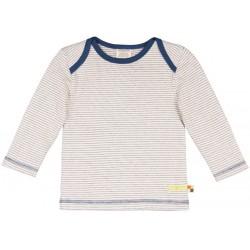 loud + proud - Bio Kinder Frottee Langarmshirt mit Streifen, blau
