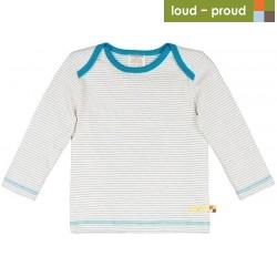 loud + proud - Bio Kinder Frottee Langarmshirt mit Streifen, petrol