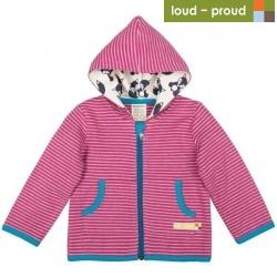 loud + proud - Bio Kinder Sweatjacke mit Streifen und Fuchs-Motiv