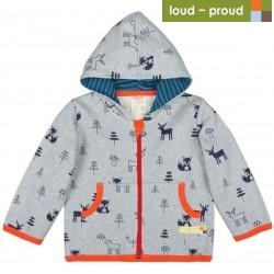 loud + proud - Bio Kinder Wolljacke mit Waldtieren-Druck, grau