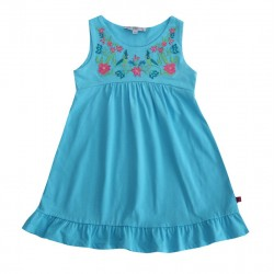 Enfant Terrible - Bio Jersey Kleid mit Stickerei, aqua