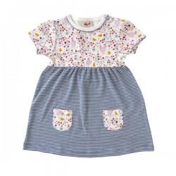 People Wear Organic - Bio Baby Kleid mit Huhn-Allover und Streifen