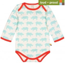loud + proud - Bio Baby Body langarm mit Nashorn-Druck