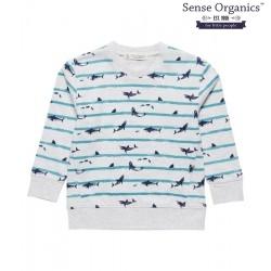 """Sense Organics - Bio Kinder Sweatshirt """"Finn"""" mit Hai-Motiv und Streifen"""