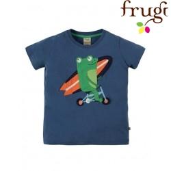 """frugi - Bio Kinder T-Shirt """"Stanley"""" mit Frosch-Motiv"""