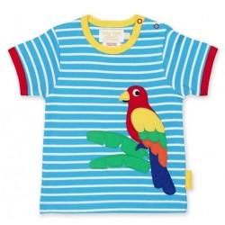 Toby tiger - Bio Kinder T-Shirt mit Papageien-Motiv und Streifen
