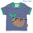 Toby tiger - Bio Kinder T-Shirt mit Faultier-Motiv und Streifen