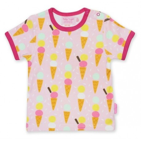 Toby tiger - Bio Kinder T-Shirt mit Eiscreme-Allover