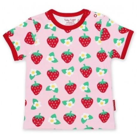 Toby tiger - Bio Kinder T-Shirt mit Erdbeer-Allover