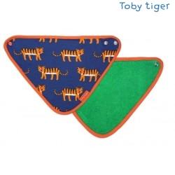 Toby tiger - Bio Baby Tuch mit Tiger-Allover und Fleece-Rückseite