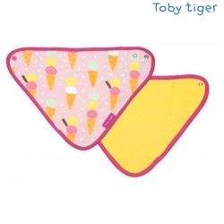 Toby tiger - Bio Baby Tuch mit Eiscreme-Allover und Fleece-Rückseite