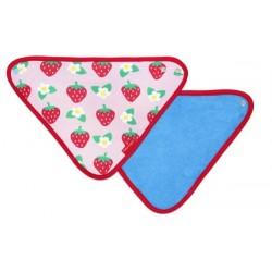 Toby tiger - Bio Baby Tuch mit Erdbeer-Allover und Fleece-Rückseite