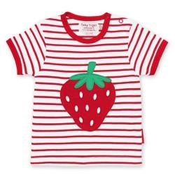 Toby tiger - Bio Kinder T-Shirt mit Erdbeer-Motiv und Streifen