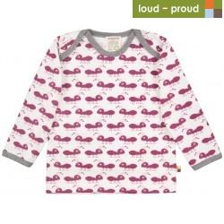 loud + proud - Bio Baby Langarmshirt mit Ameisen-Druck, orchidee