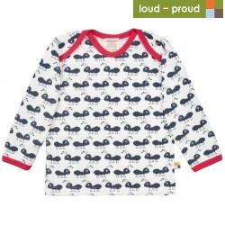 loud + proud - Bio Baby Langarmshirt mit Ameisen-Druck, blau