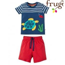 """frugi - Bio Baby Set T-Shirt + Shorts """"Porthleven"""" mit Schildkröten-Motiv"""