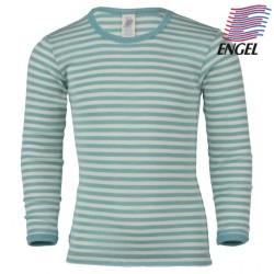 ENGEL - Baby Langarmshirt gestreift, Wolle/Seide, pastelblau