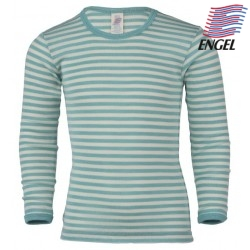 ENGEL - Kinder Langarmshirt gestreift, Wolle/Seide, pastelblau