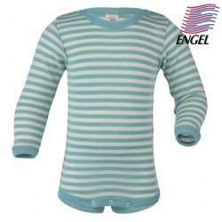 ENGEL - Bio Baby Body langarm gestreift, Wolle/Seide, pastelblau