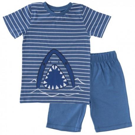 People Wear Organic - Bio Kinder Schlafanzug kurz mit Hai-Motiv und Streifen