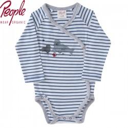 People Wear Organic - Bio Baby Wickelbody langarm mit Robben-Motiv und Streifen