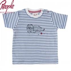 People Wear Organic - Bio Baby T-Shirt mit Robben-Druck und Streifen