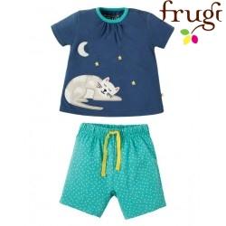"""frugi - Bio Baby Schlafanzug kurz """"Little Peony"""" mit Katzen-Motiv"""