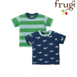 """frugi - Bio Kinder T-Shirt Doppelpack """"Tresco"""" mit Flugzeug-Motiv und Streifen"""
