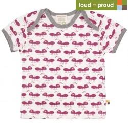 loud + proud - Bio Kinder T-Shirt mit Ameisen-Druck, orchidee