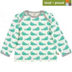 loud + proud - Bio Baby Langarmshirt mit Robben-Druck, jade