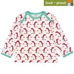 loud + proud - Bio Baby Langarmshirt mit Pinguin-Druck, beere