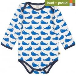 loud + proud - Bio Baby Body langarm mit Robben-Druck, cobald