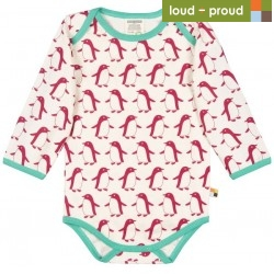 loud + proud - Bio Baby Body langarm mit Pinguin-Druck, beere