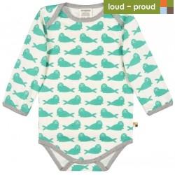 loud + proud - Bio Baby Body langarm mit Robben-Druck, jade