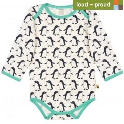 loud + proud - Bio Baby Body langarm mit Pinguin-Druck, midnight