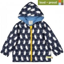 loud + proud - Bio Kinder Jacke mit Pinguin-Druck, wasserabweisend, midnight