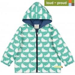 loud + proud - Bio Kinder Jacke mit Robben-Druck, wasserabweisend, jade