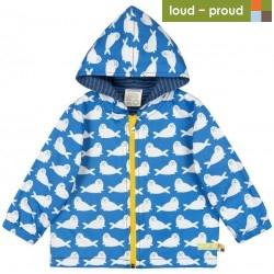 loud + proud - Bio Kinder Jacke mit Robben-Druck, wasserabweisend, cobald