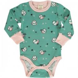Maxomorra - Bio Baby Body langarm mit Spatzen-Motiv