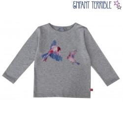 Enfant Terrible - Bio Kinder Langarmshirt mit Vogel-Druck