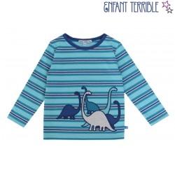 Enfant Terrible - Bio Kinder Langarmshirt mit Dino-Motiv und Streifen