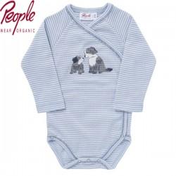 People Wear Organic - Bio Baby Wickelbody langarm mit Hunde-Motiv und Streifen