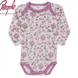 People Wear Organic - Bio Baby Body langarm mit Hasen-Allover