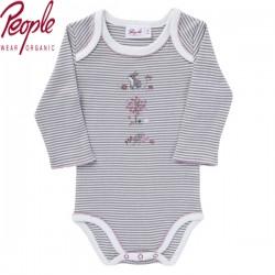 People Wear Organic - Bio Baby Body langarm mit Hasen-Motiv und Streifen