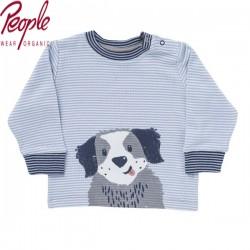 People Wear Organic - Bio Baby Langarmshirt mit Hunde-Motiv und Streifen